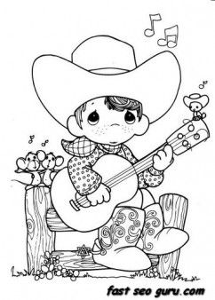 precious moments boy playing guitar cowboy coloring pages printable coloring pages for kids