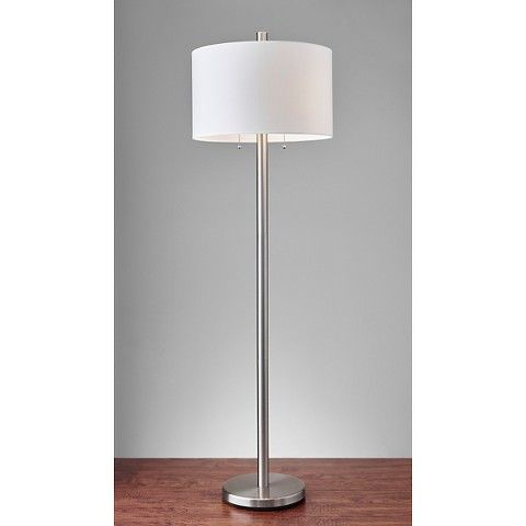 Boulevard Floor Lamp Silver White Adesso Silver Floor Lamp