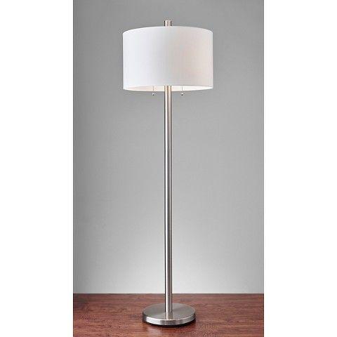 Adesso Boulevard Floor Lamp   Silver/White