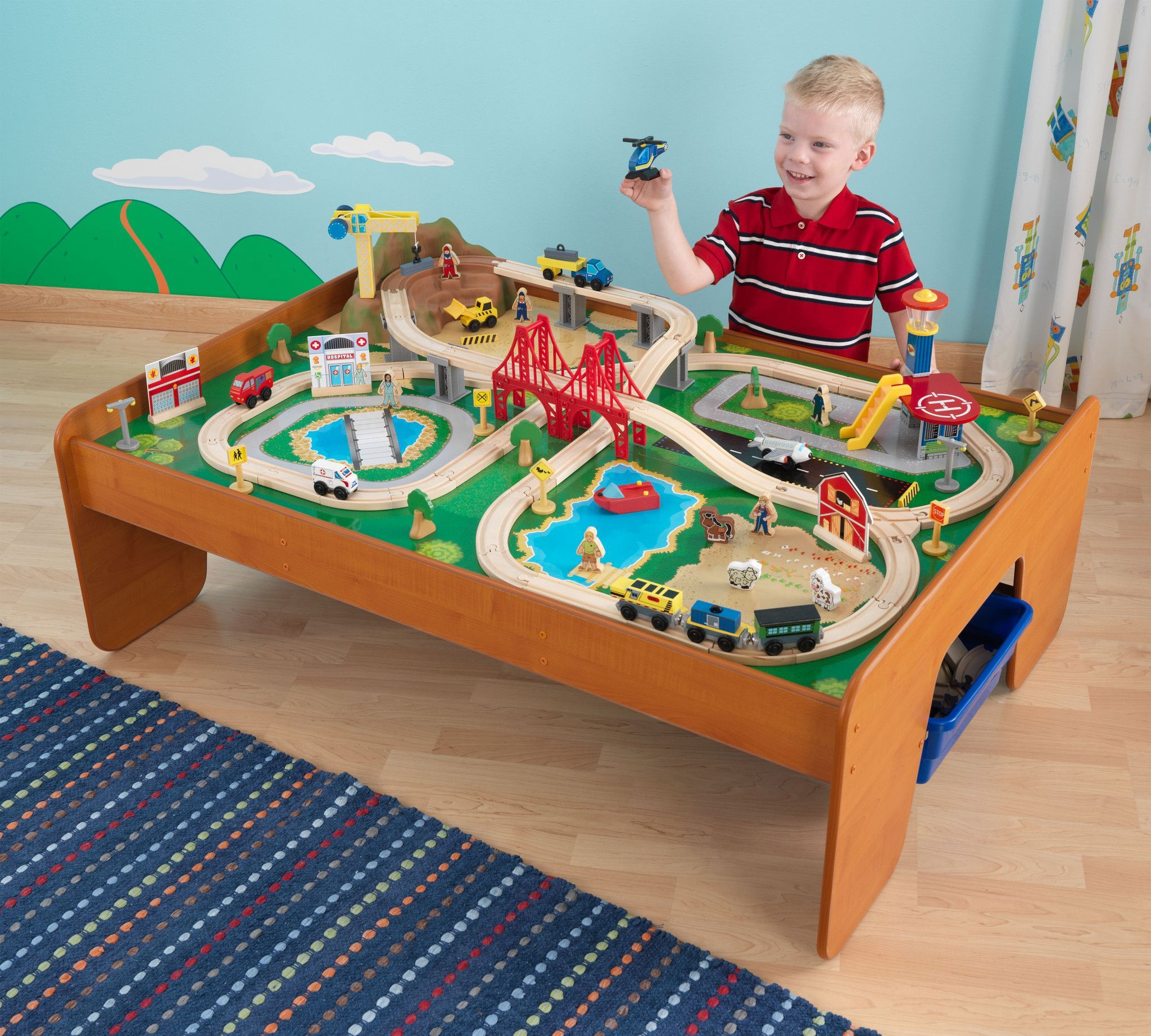 Kid Kraft Ride Around Town Train Set with Table - 17836 | Toy Trains ...