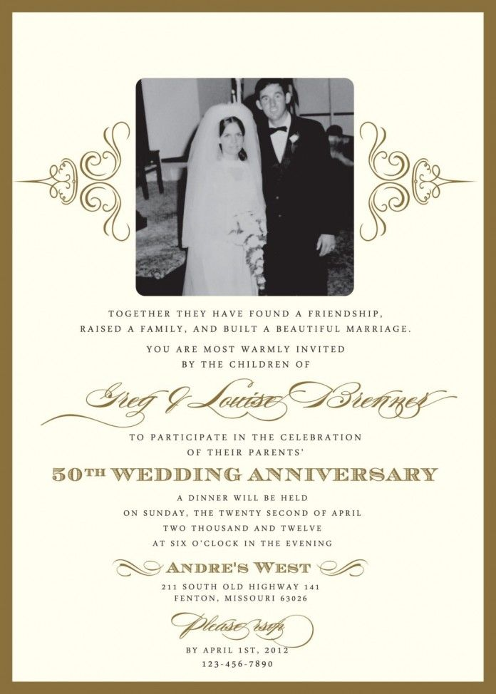 50th Wedding Invitation Templates Anniversary Party