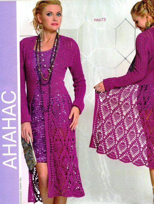 Crochetemoda: Casaco Longo de Crochet