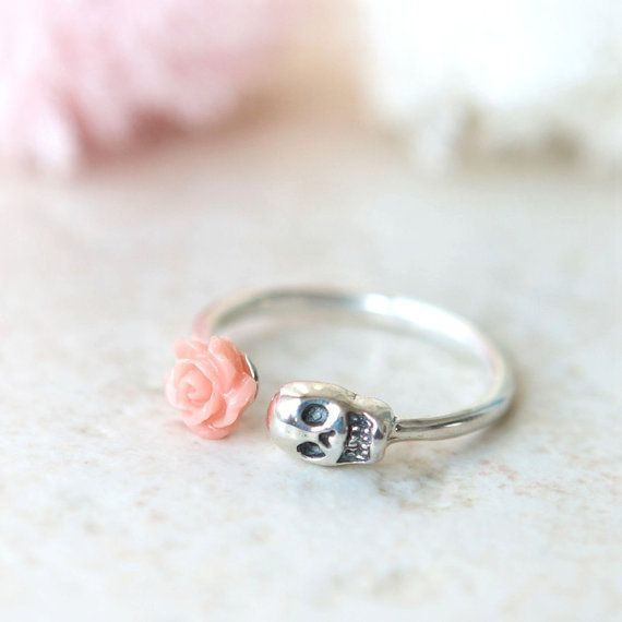 Pink Rose and Skull ring in sterling silver by laonato on Etsy