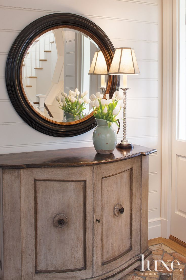 Contemporary Foyer Mirrors : Contemporary white foyer with circle mirror luxe
