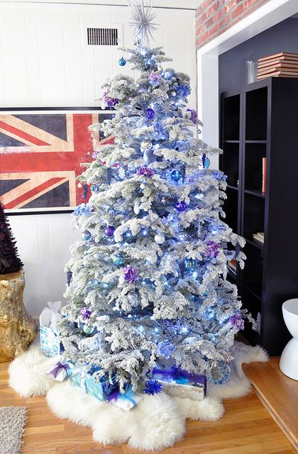 flocked christmas tree purple and blue chirstmas by love maegan