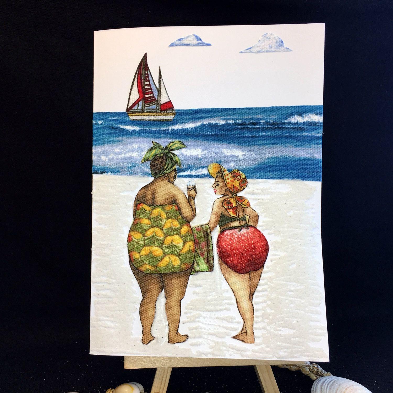 Ooak beach card handmade recycled fabric greeting card bon voyage ooak beach card handmade recycled fabric greeting card bon voyage card friendship card kristyandbryce Gallery