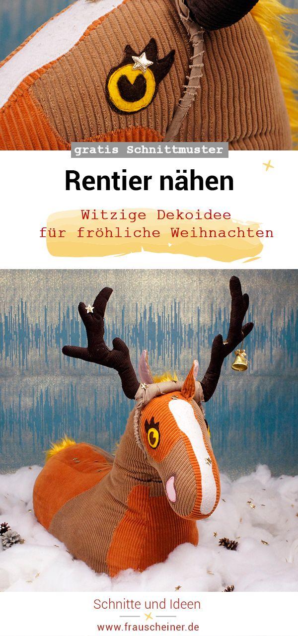 Rentier nähen #101RudiNähchallenge | Weihnachtsmanns rentier ...