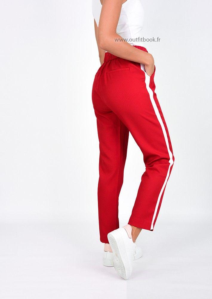 meilleur site web 0c44c 4fd1a Pantalon rouge avec bande blanche | Moda | Pantalon rouge ...