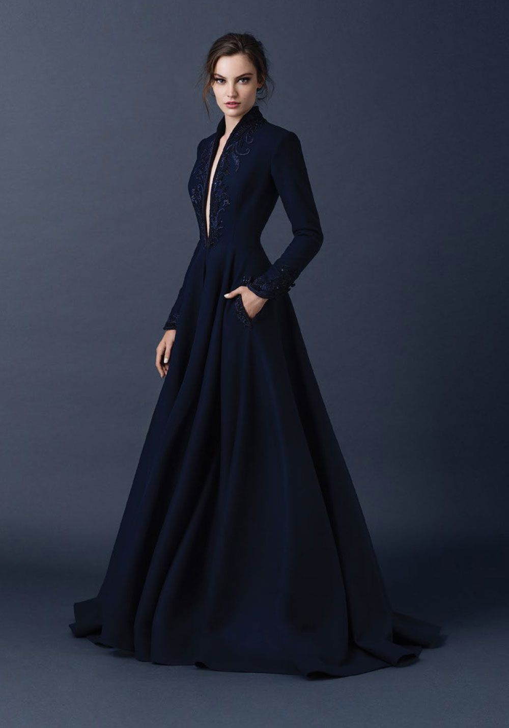2015 AW Couture | Paolo Sebastian midnight blue high collar dress ...