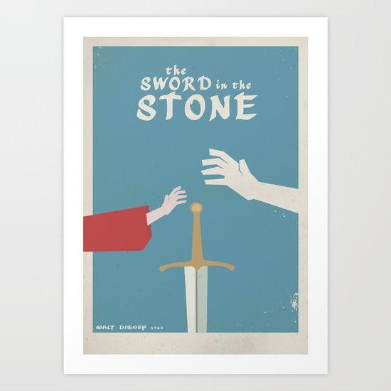 The sword in the stone Disney movie cartoon poster print