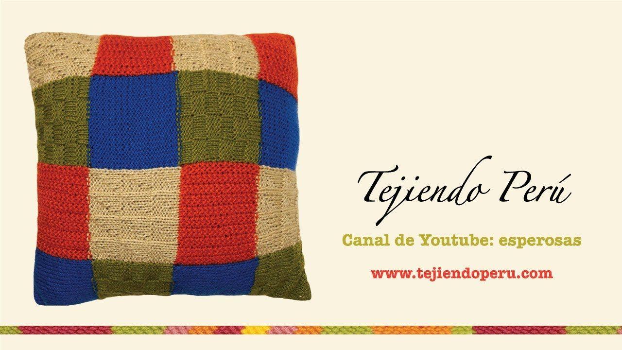 Almohadón tejido en dos agujas (en varios puntos y colores ...