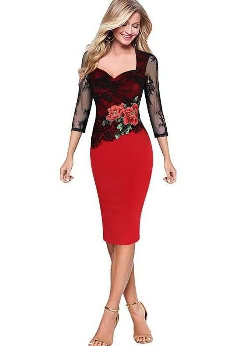 9ab305bcd06 2017 Fashion Women Dress S-5XL Elegant Lace Patchwork 3 4 Sleeve Rose  Embroidery Stretch Business Slim Bodycon Pencil Midi Dress red color