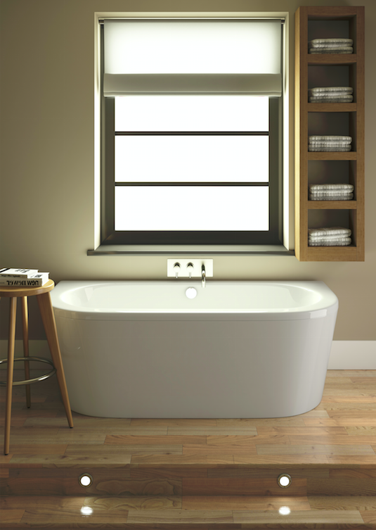 A freestanding bath with polished wooden flooring and spotlights make for a #luxurious #spa style bathroom! Shop freestanding baths at MatalanDirect.com