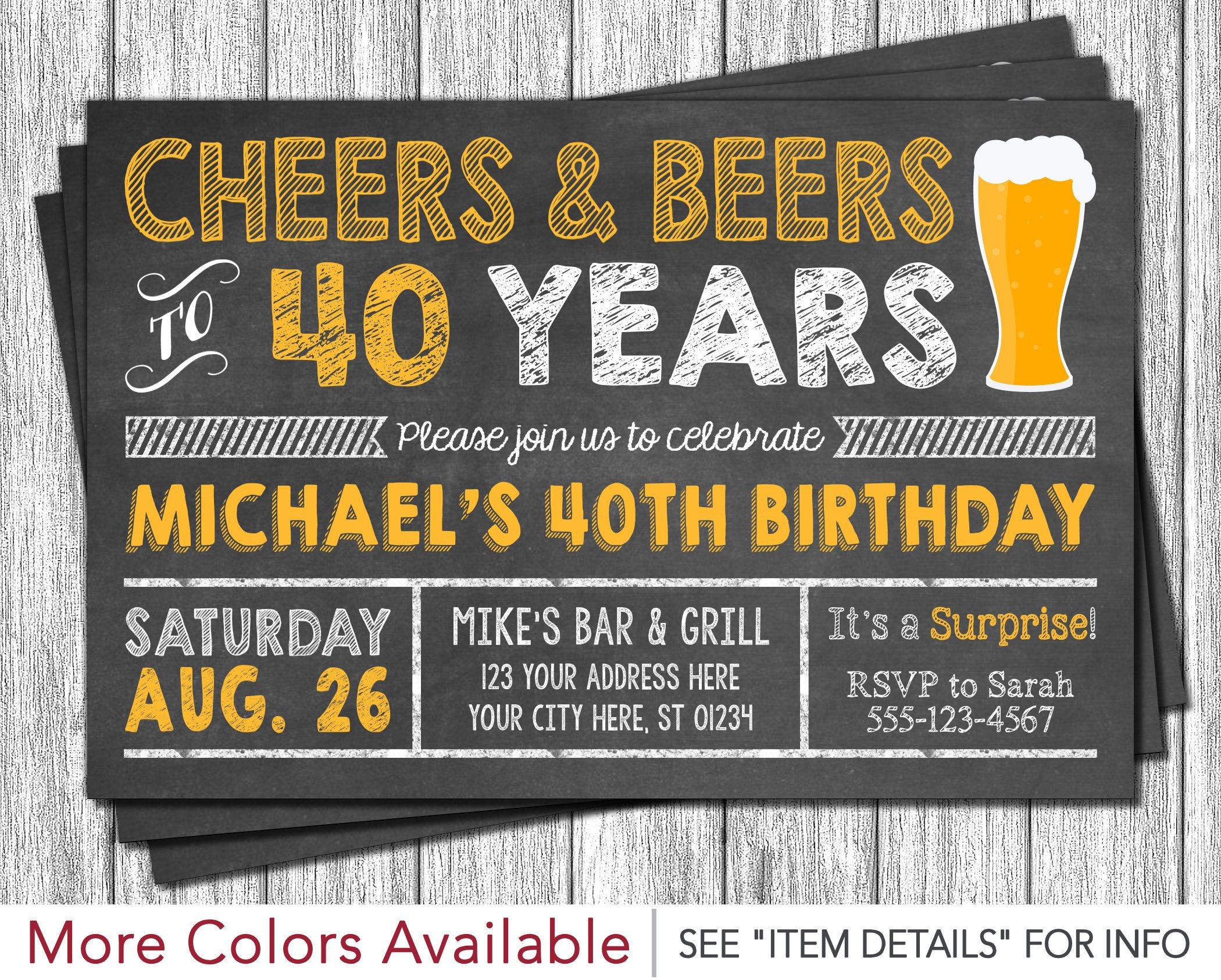 Cheers and Beers to 40 Years Birthday Invitation • 30th, 40th, 50th ...