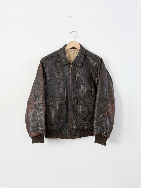 Vintage Bomber Jacket Men S Leather Aviator Jacket Bomber