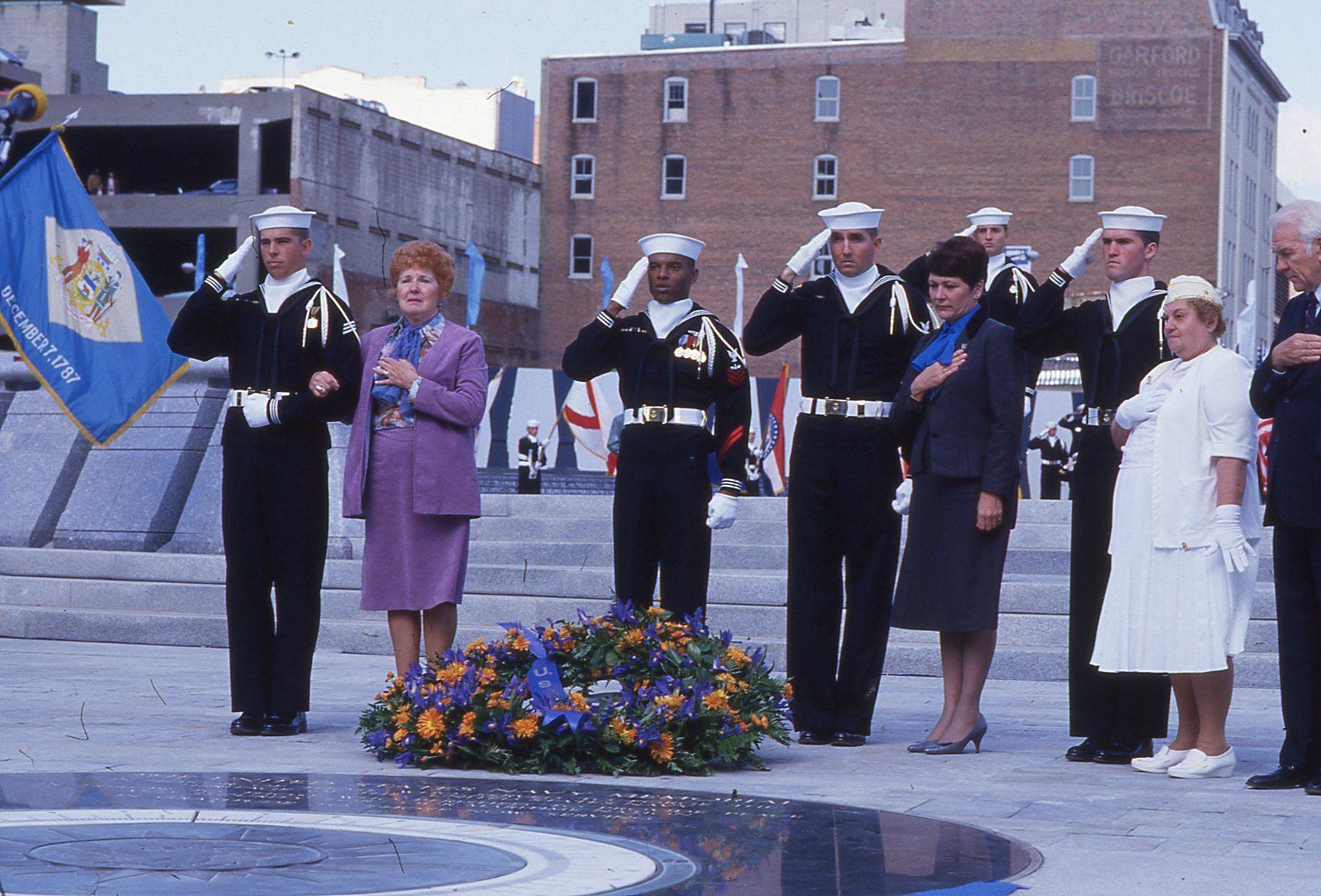 Wreathlaying at the dedication of the Navy Memorial -- October 13, 1987