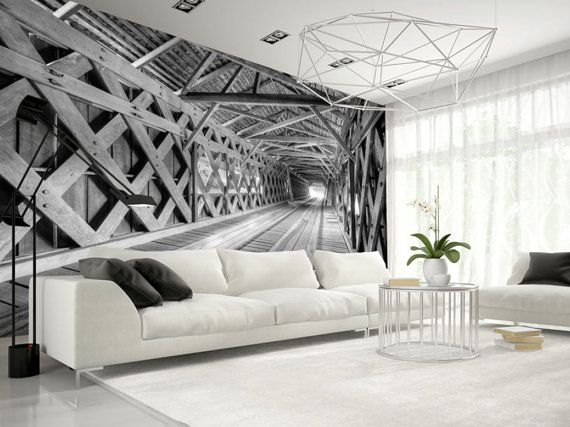 Photo Wallpaper Wall Murals Non Woven 3d Modern Art Optical Illusion Tunnel Bridge Wall Decals Bedroom Decor Home Design Wall Art Decals 197 Wallpaper Bedroom Feature Wall Feature Wall Bedroom Wallpaper Bedroom
