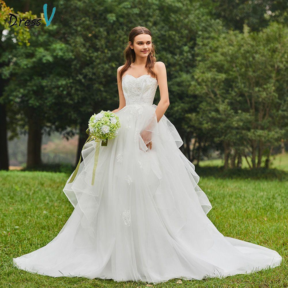 Dressv elegant sweetheart neck wedding dress cathedral