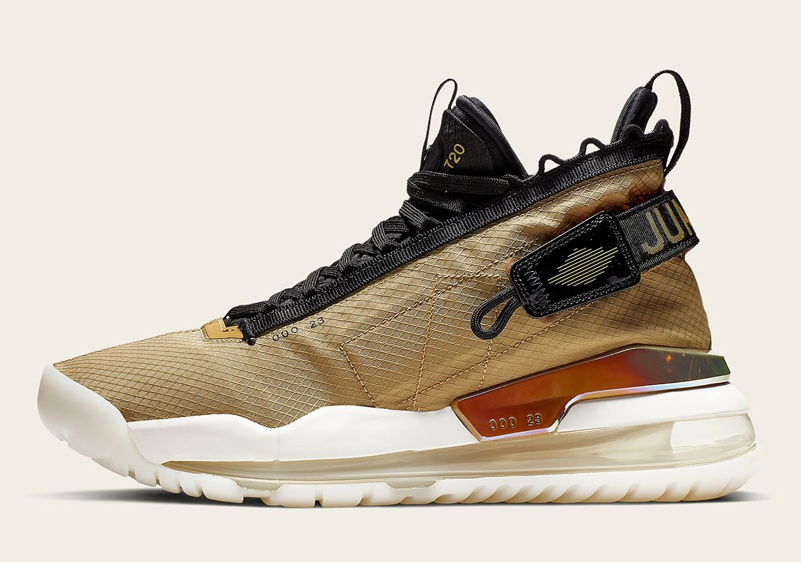 6074d4ebe416 The Jordan Proto Max 720 Appears In A Championship-Ready Gold And Black