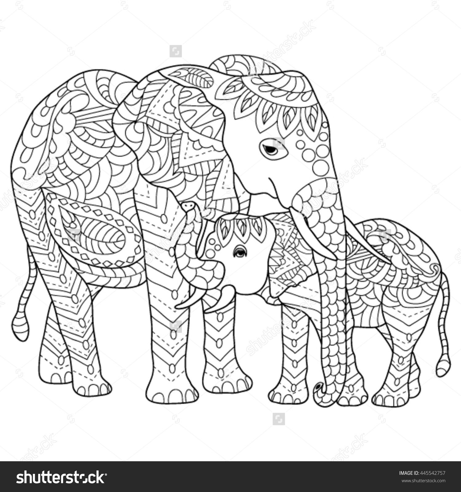 hand drawn elephants coloring page | Pewter crafts | Pinterest ...