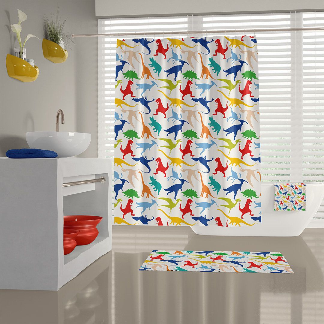 Cute Dinosaur Shower Curtain Dinosaur Bath Mat And Towels Kids