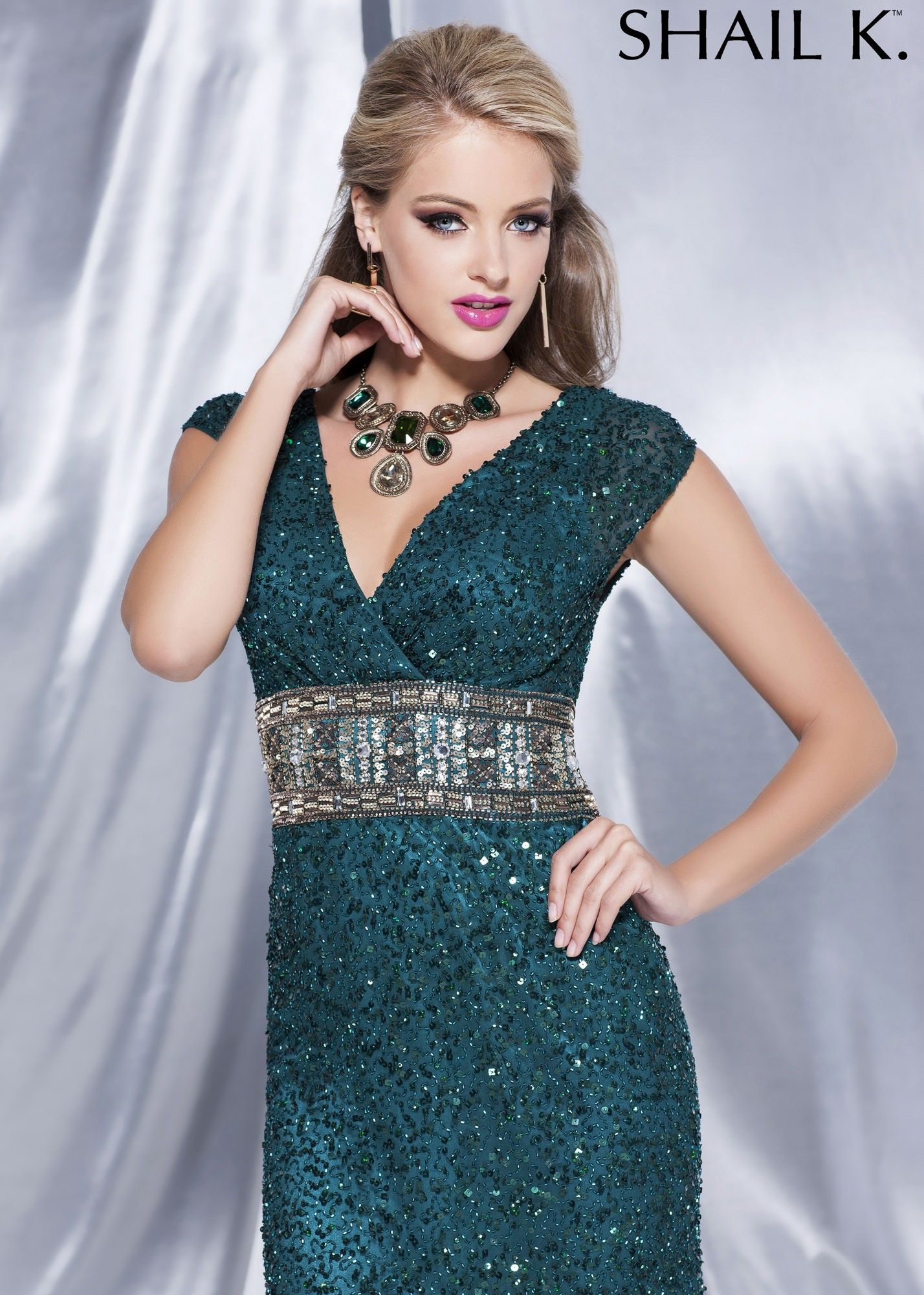 Shail K. 3673 V-Neck Fitted Sequin Dress