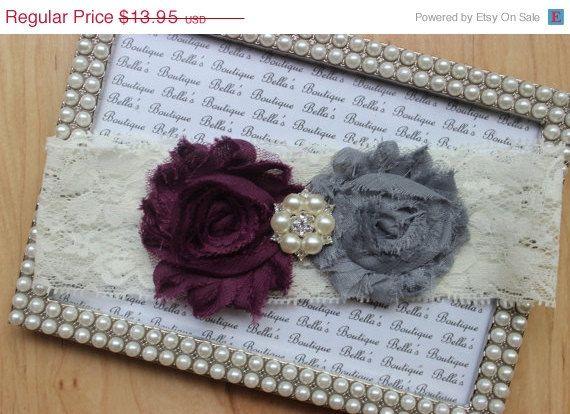 Eggplant Purple  Gray Wedding Garter - Ivory Lace Garter-Bridal Garter- Deep Purple Plum Garter-Keepsake Garter