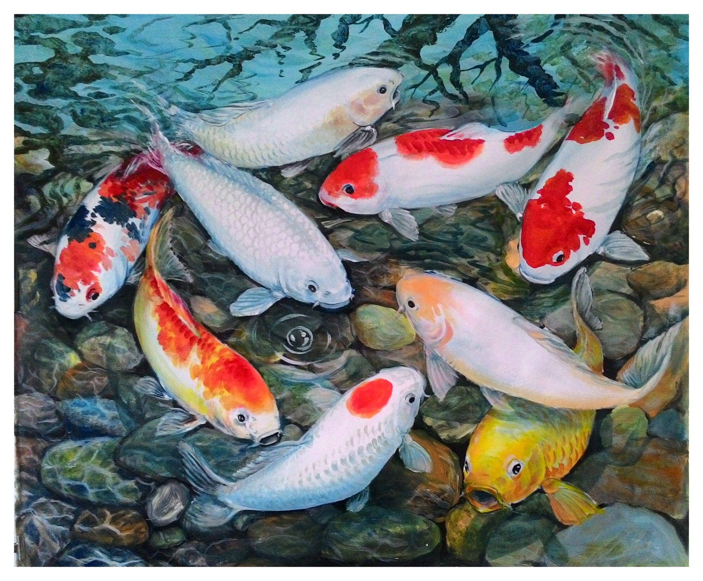 Koi fish feng shui artwork koi fish for Koi carp pool