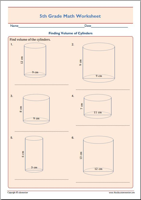 Finding Volume Cylinders 5th Grade Math | geometria | Pinterest ...