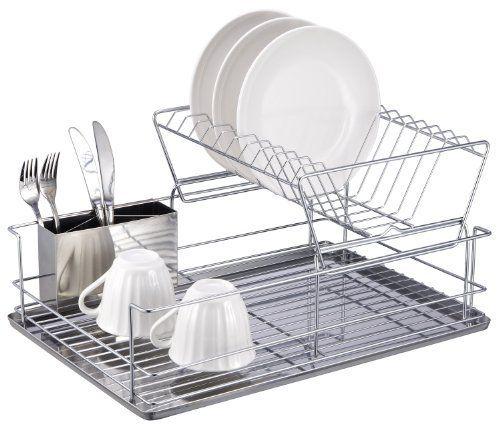 Home Basics 2 Tier Dish Rack 886466302458 3 Piece Dish Rack With