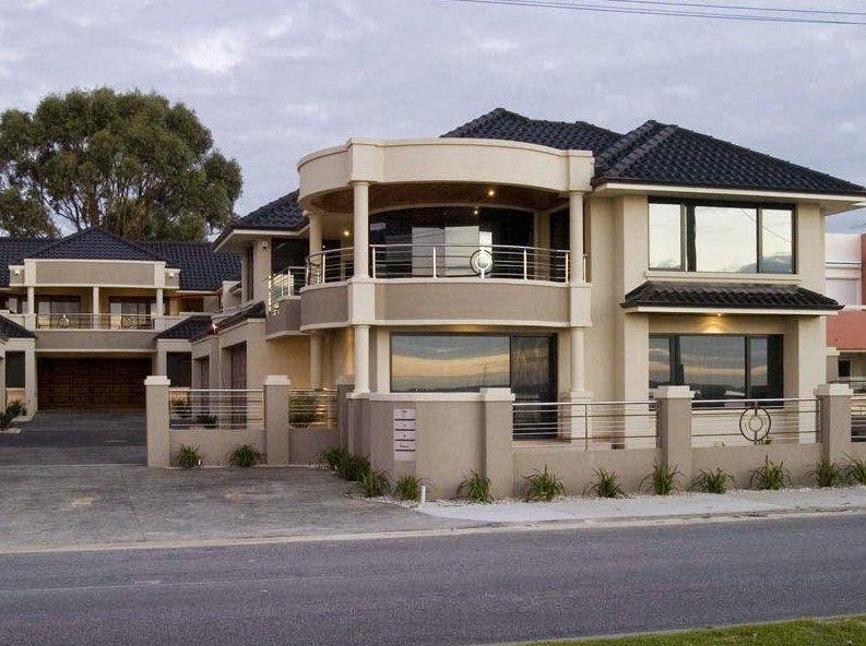 Fachada de casa moderna con balcon redondo fachadas casa for Fachadas minimalistas con balcon