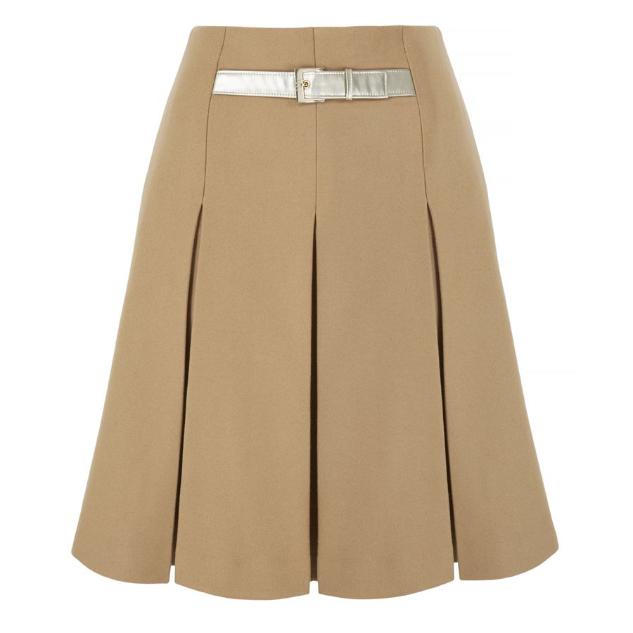 retro 60s inverted box pleated skirt technical drawing