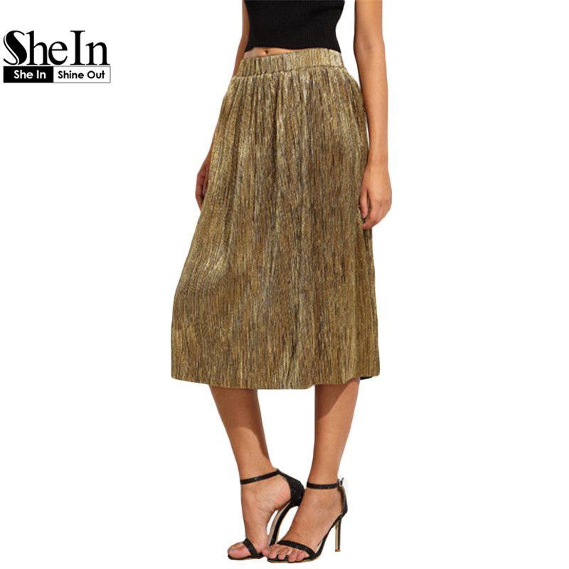 c17b822e3 SheIn Fashion Skirts For Women New Arrival Autumn Long Skirts Style Ladies  Golden Loose Elegant Pleated Midi Skirt