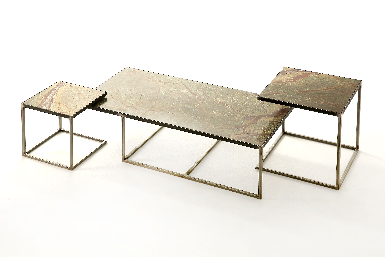 Koffietafels salontafels bijzettafels in staal. bovenblad in