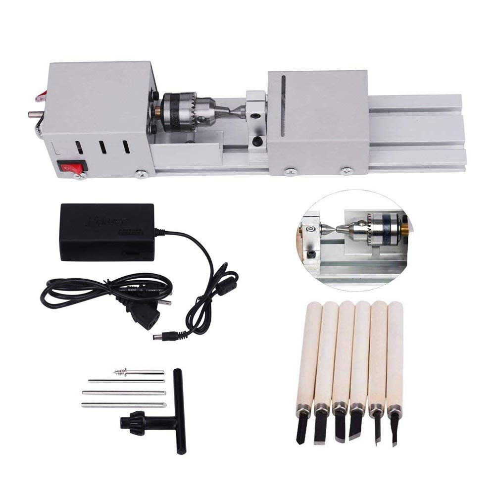 24V 80W Mini Lathe Beads Machine Polisher Table Woodworking DIY Rotary Tool Kit