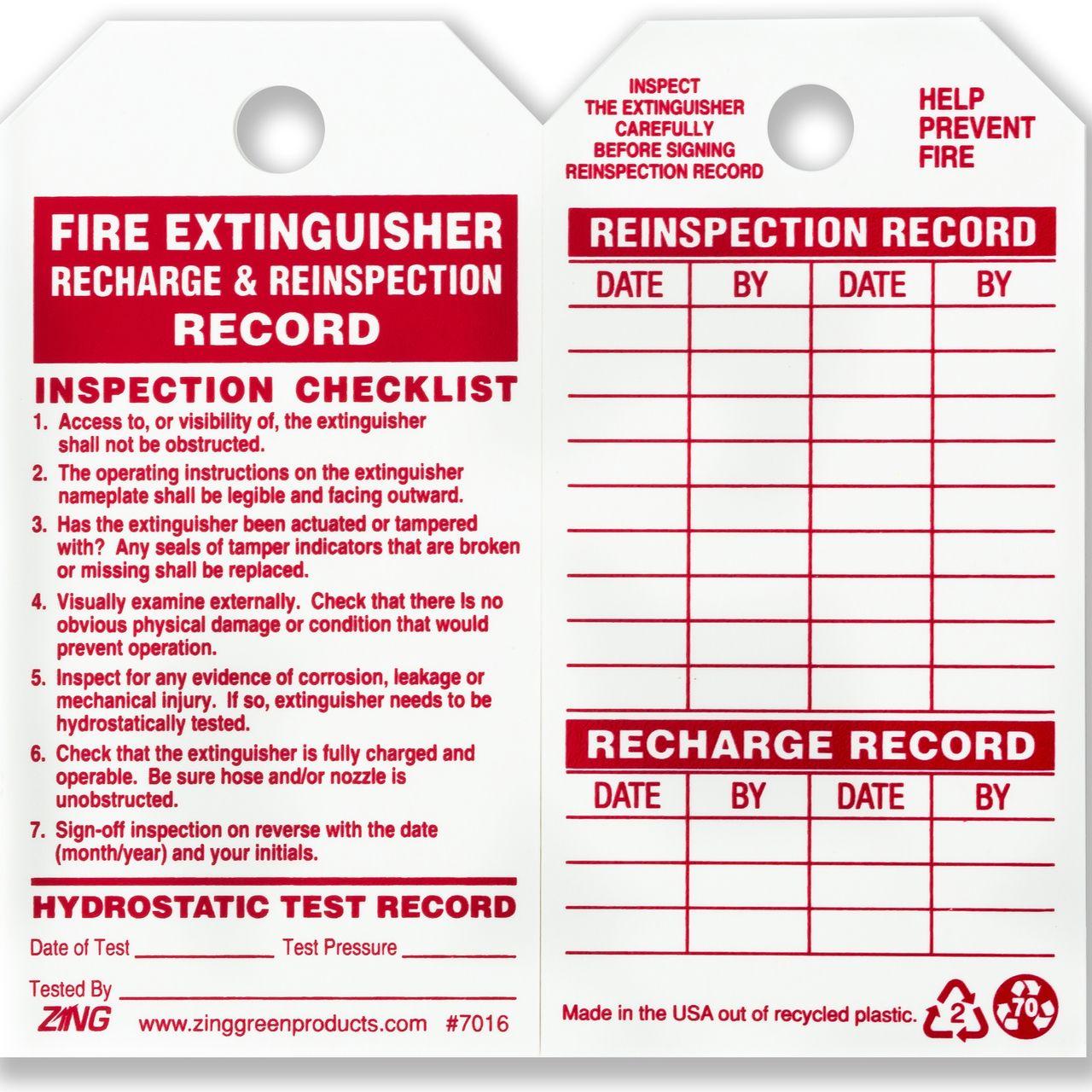 Zing 7016 Eco Safety Tag Fire Extinguisher 5 75hx3w 10 Pack Fire Extinguisher Extinguisher Inspection Checklist