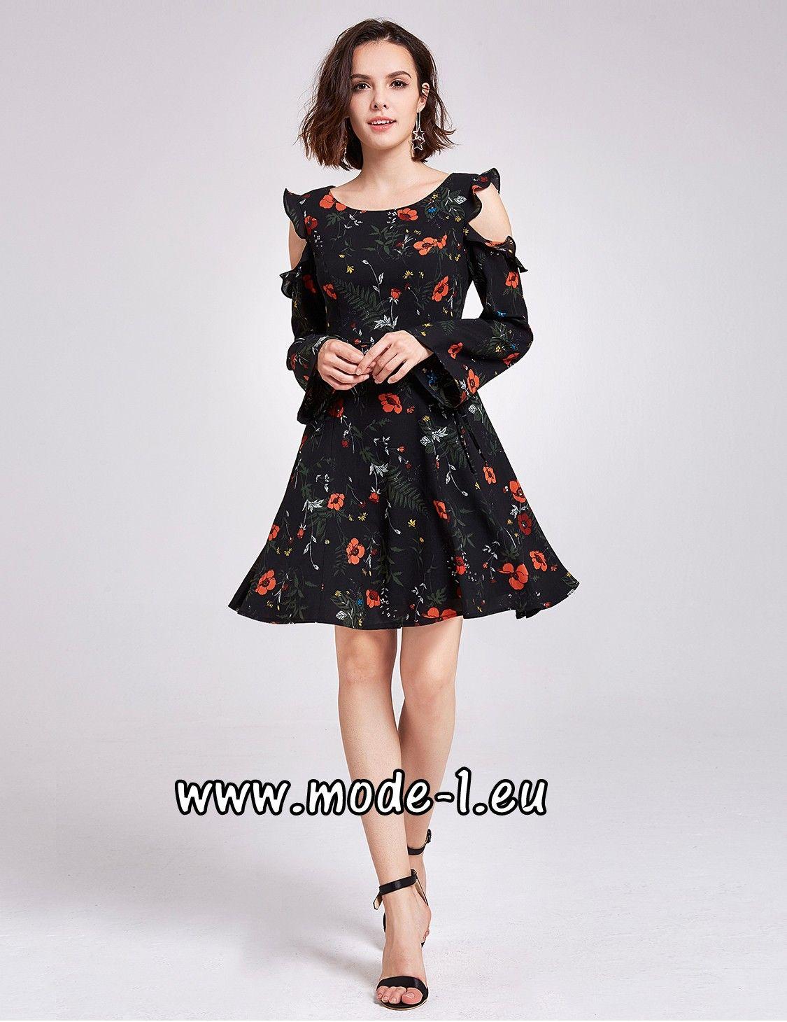 Schulterfreies Kleid Cocktailkleid 2018 mit Blumen Muster | In ...