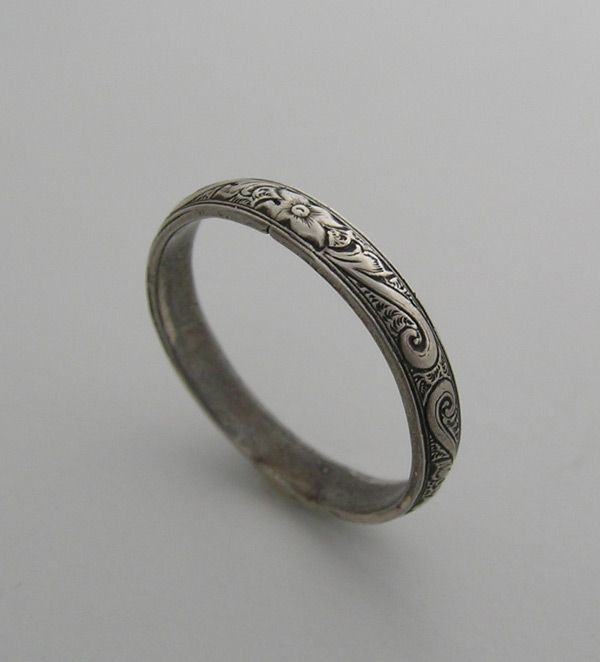 Art Deco Antique Rings Vintage Style Engraved Wedding Ring Band