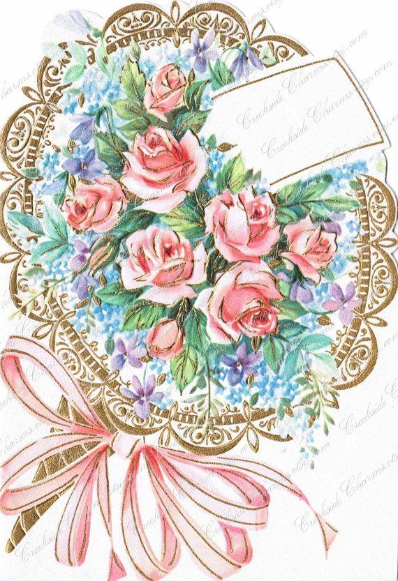 Vintage Bouquet Congratulations Card JPEG Instant Download