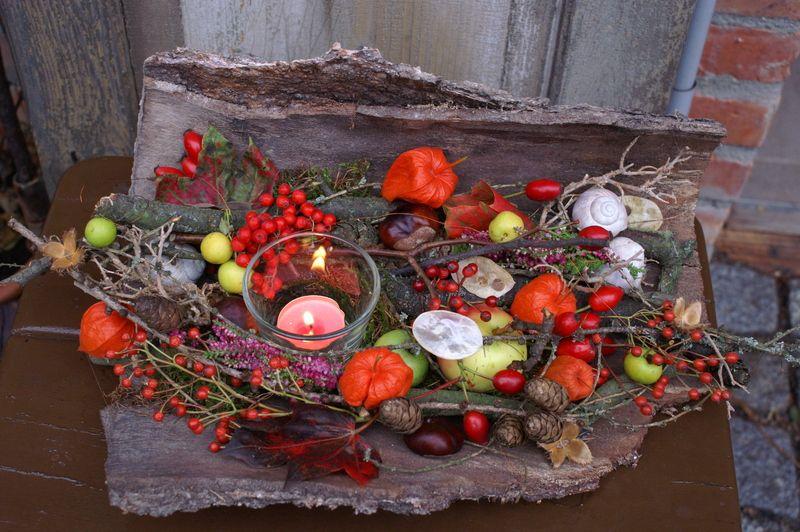 große Baumrinde Herbstlicht von kleineGartenwerkstatt auf DaWanda.com #herbsttischdekorationen