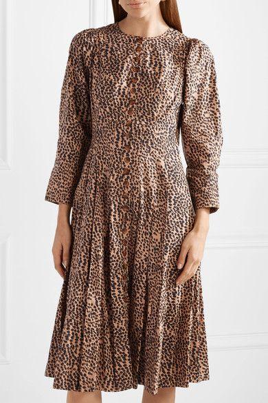 Bernadette Pleated Printed Cotton-poplin Dress - Taupe Ulla Johnson X11WUv