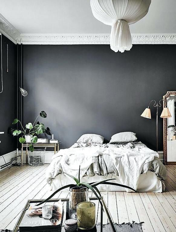 Dark Grey Bedroom Walls Love The Dark Grey Wall In This Bedroom