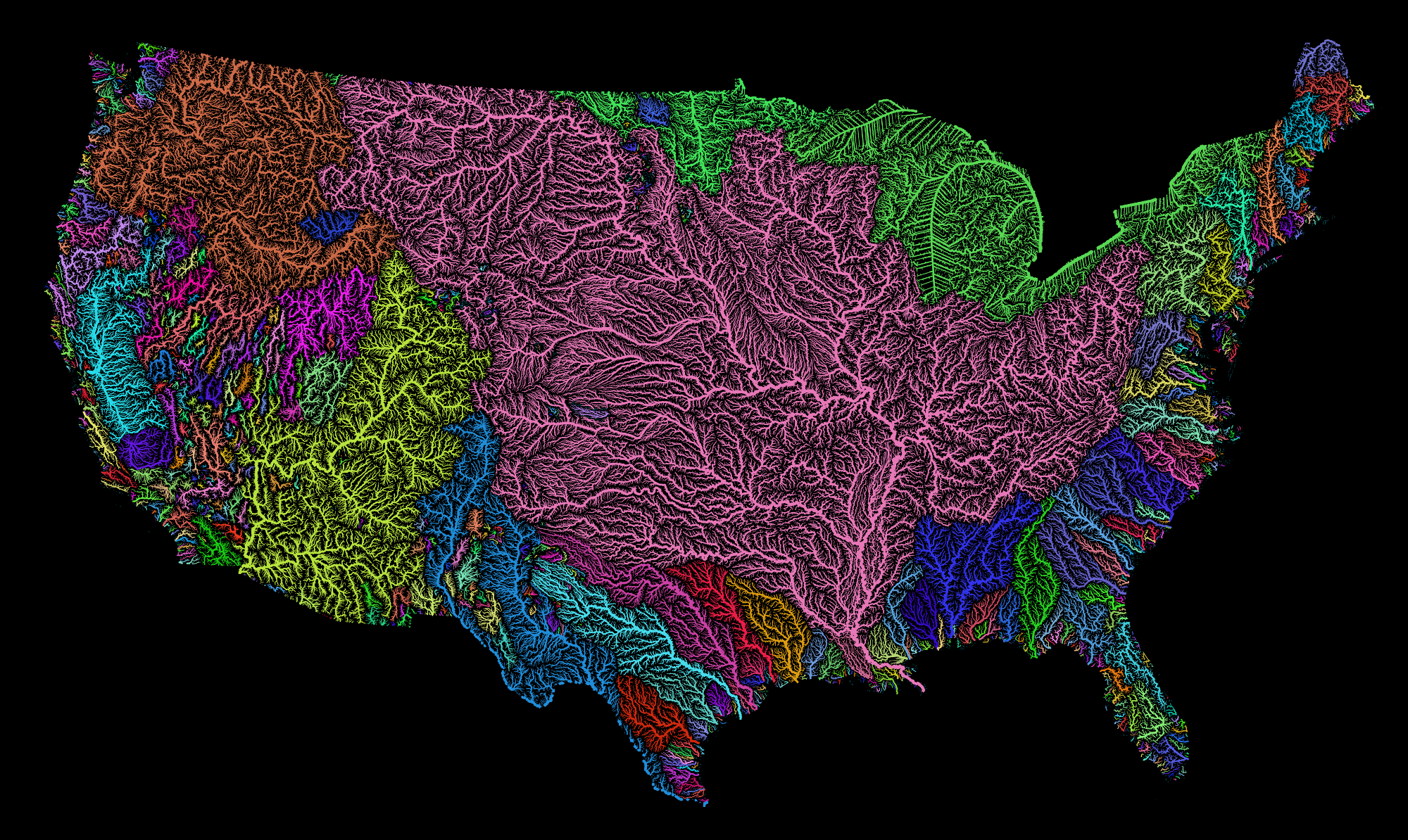 Rivers Basins Of The US In Rainbow Colours - Map of the rivers in the us