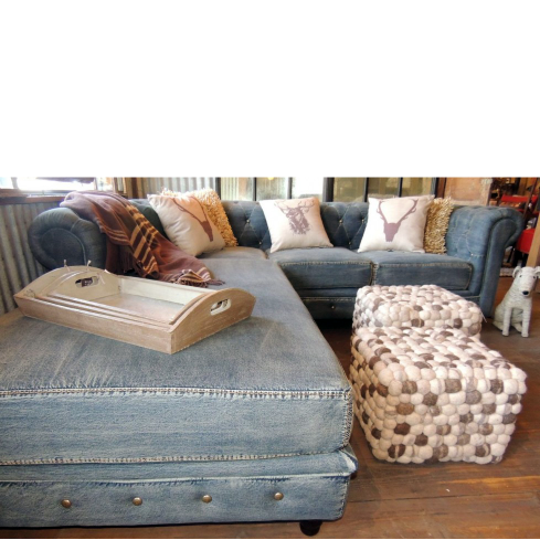 Attirant Chesterfield Denim Sectional   Sofas   Living Room