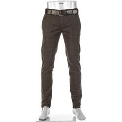 Photo of Alberto Men's Chino Pants Rob, Slim Fit, Cotton, Coffee Brown Navy Check Alberto