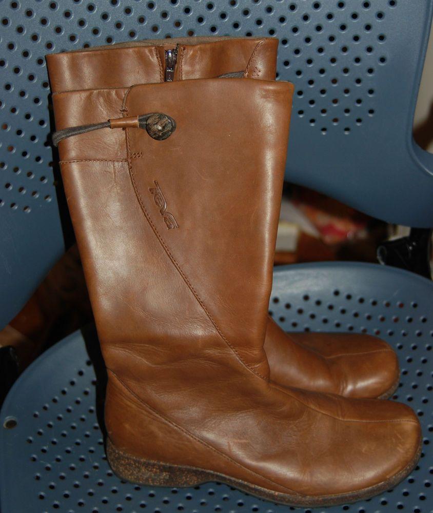 830b9d890518ed Women s Brown Teva Montecito 4027 Boots Leather Zip Tall SZ 8.  Teva  Boots
