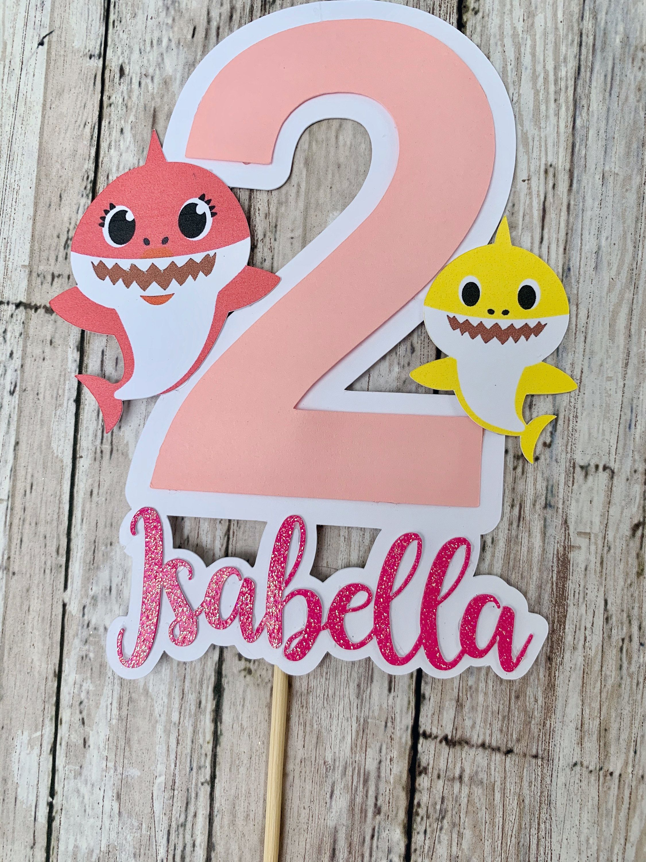 Baby shark birthday personalized cake topper shark party