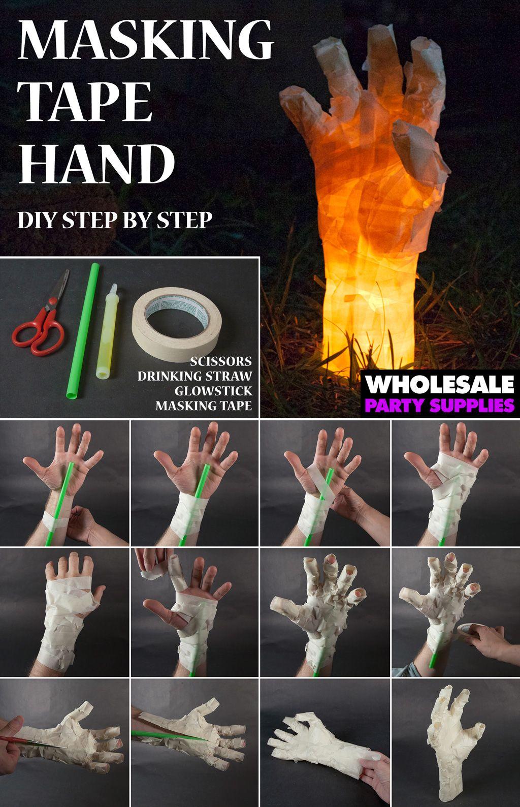 DIY Masking Tape Hand Prop Easy halloween decorations