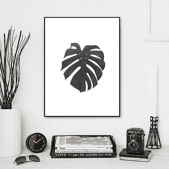 leaf print tropical print botanical print black and white wall art scandinavain print nature print banana leaf modern minimalist art