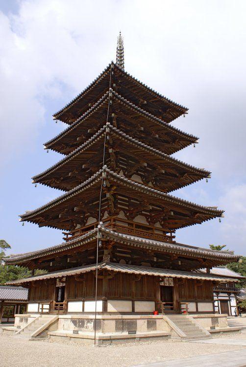 Horyuji | Ancient Japan | Japanese architecture, Japanese buildings